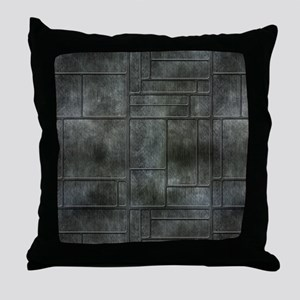Industrial Grey Metal Throw Pillow