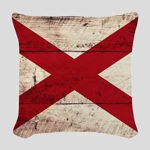 Wooden Alabama Flag3 Woven Throw Pillow