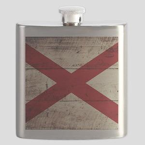 Wooden Alabama Flag3 Flask