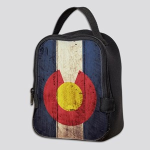 Wooden Colorado Flag2 Neoprene Lunch Bag