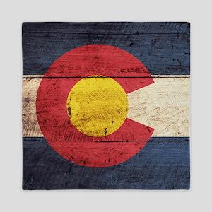 Wooden Colorado Flag3 Queen Duvet