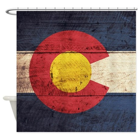 Wooden Colorado Flag3 Shower Curtain