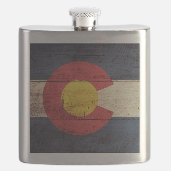 Wooden Colorado Flag3 Flask