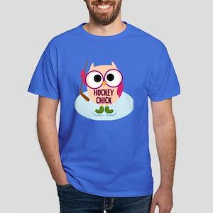 Owl Hockey Chick Dark T-Shirt