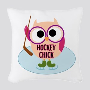 Owl Hockey Chick Woven Throw Pillow