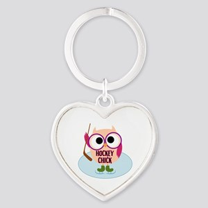 Owl Hockey Chick Heart Keychain