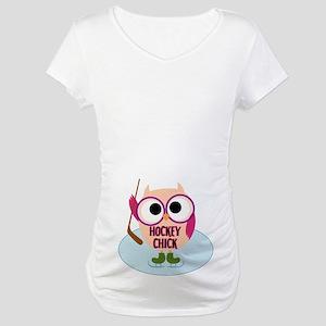 Owl Hockey Chick Maternity T-Shirt