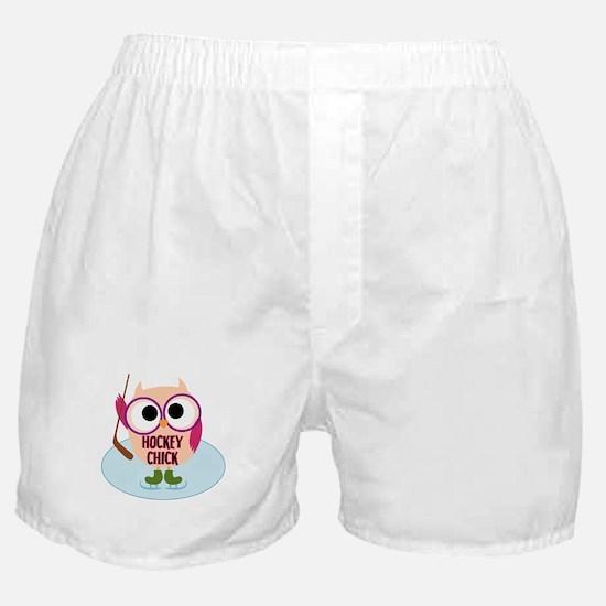 Owl Hockey Chick Boxer Shorts