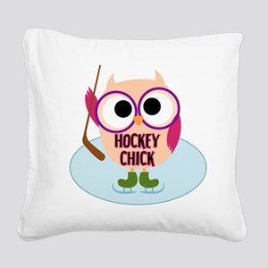 Owl Hockey Chick Square Canvas Pillow