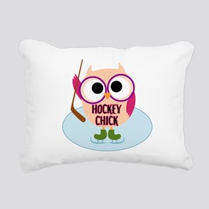 Owl Hockey Chick Rectangular Canvas Pillow
