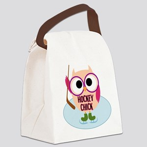 Owl Hockey Chick Canvas Lunch Bag