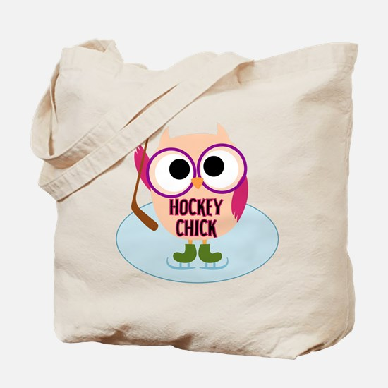 Owl Hockey Chick Tote Bag