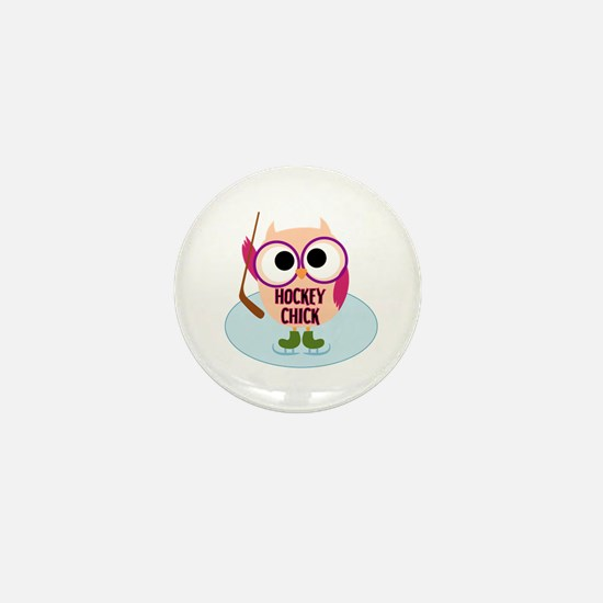 Owl Hockey Chick Mini Button