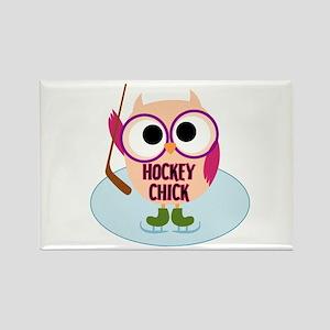 Owl Hockey Chick Rectangle Magnet