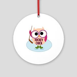 Owl Hockey Chick Ornament (Round)