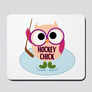 Owl Hockey Chick Mousepad