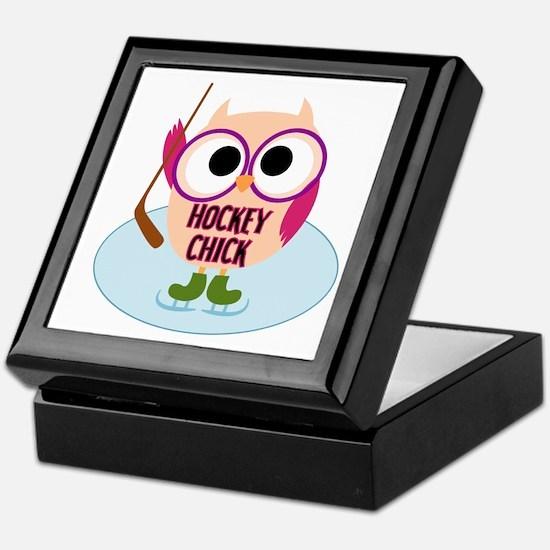 Owl Hockey Chick Keepsake Box