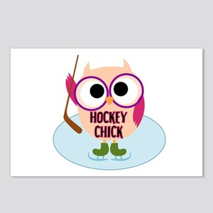 Owl Hockey Chick Postcards (Package of 8)