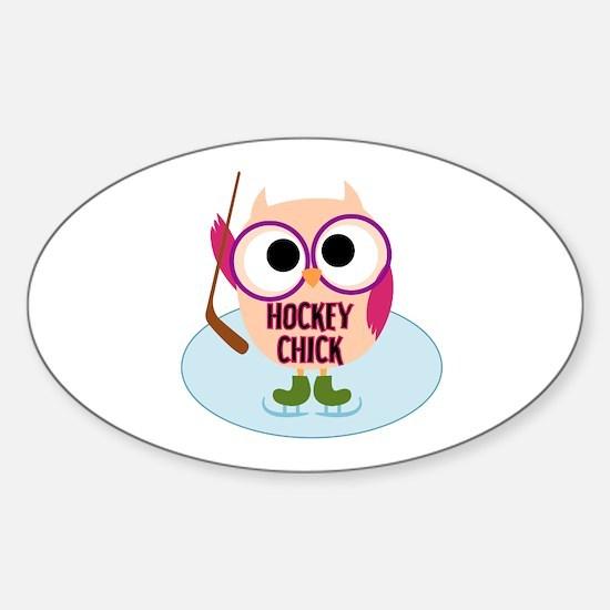 Owl Hockey Chick Sticker (Oval)
