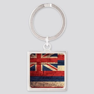 Wooden Hawaii Flag3 Keychains