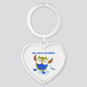 Owl Always Love Hockey Heart Keychain