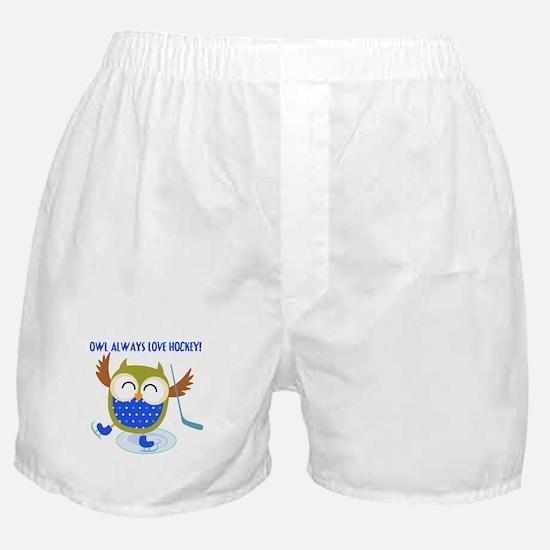 Owl Always Love Hockey Boxer Shorts