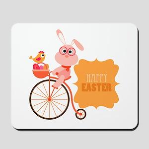 Easter Bunny on Bicycle Mousepad