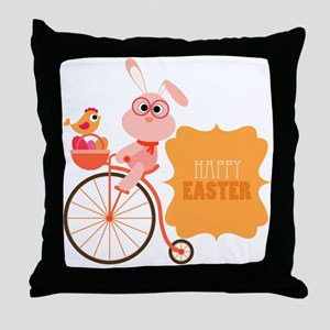 Easter Bunny on Bicycle Throw Pillow