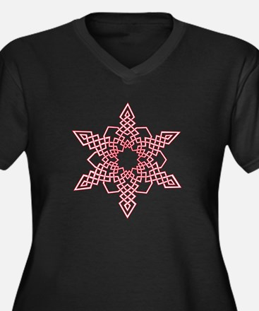Red Outline Snowflake Plus Size T-Shirt