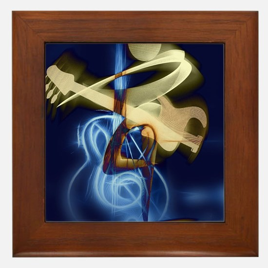 The Guitar Player, Abstract Design Framed Tile