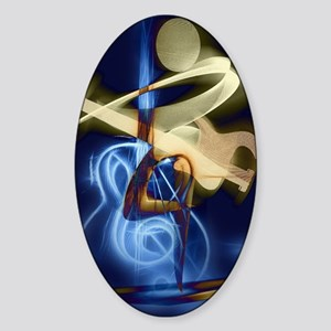 The Guitar Player, Abstract Design Sticker (Oval)
