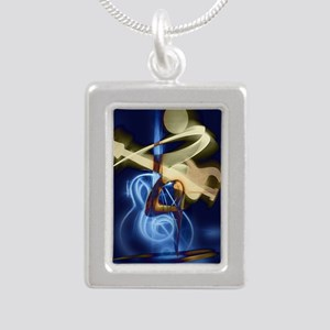 The Guitar Player, Abstr Silver Portrait Necklace