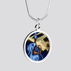 The Guitar Player, Abstract  Silver Round Necklace
