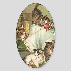 Kindle Sleeve Vintage Cats Sticker (Oval)