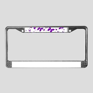PUPLE BUTTERFLIES IN FLIGHT License Plate Frame