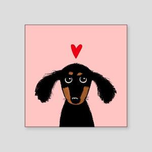 "Cute Dachshund Square Sticker 3"" x 3"""