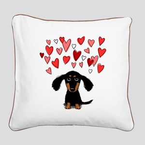 Cute Dachshund Square Canvas Pillow
