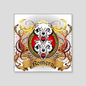 """Romero Family Crest Square Sticker 3"""" x 3"""""""