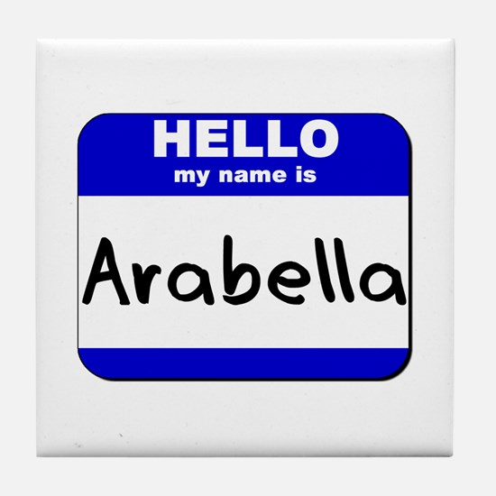 hello my name is arabella  Tile Coaster