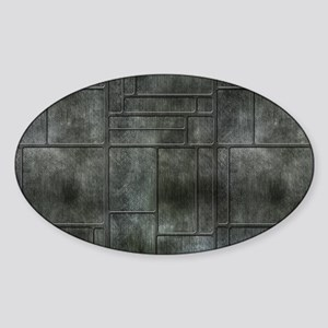 Industrial Grey Metal Sticker (Oval)