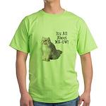 Meow Persian Cat Green T-Shirt