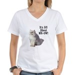 Meow Persian Cat Women's V-Neck T-Shirt