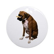 Brindle Boxer Photo Ornament (Round)