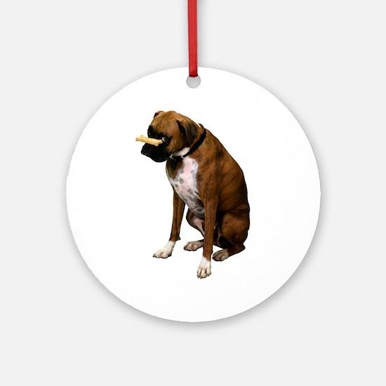 Brindle Boxer Photo Ornament (Round)
