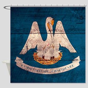 Wooden Louisiana Flag3 Shower Curtain
