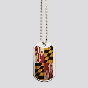 Wooden Maryland Flag1 Dog Tags