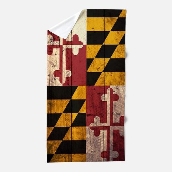 Wooden Maryland Flag1 Beach Towel