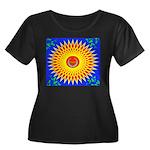 Spiral Sun Women's Plus Size Scoop Neck Dark T-Shi