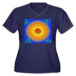 Spiral Sun Women's Plus Size V-Neck Dark T-Shirt