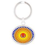 Spiral Sun Oval Keychain